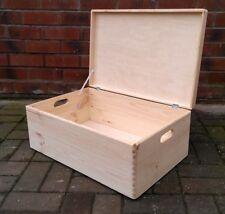 XL Plain Wooden Box - Keepsake Toys Souvenirs Craft Storage Chest Extra Large