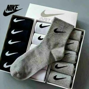 NIKE 5 Pairs Mens Womens Socks Quarter Ankle Cotton Trainer Sports Socks