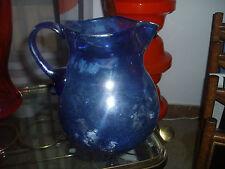 Bellissima brocca vetro soffiato blu - caraffa - Murano - Vintage