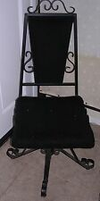 Mediterranean Mid Century Goth Steam Punk Revolving Black Iron Desk Chair Fur