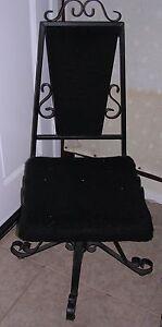 Mediterranean Mid Century Goth Steam Punk Revolving Black Iron Desk Chair Fur