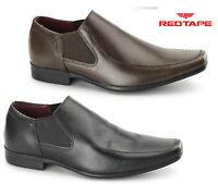 Red Tape Heddon Black Brown Slip on Leather Mens Shoes Chisel Toe Formal Evening