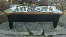 """2 Quart Black & Tan Raised Wood Bone Dog Feeder (8 1/4"""" H)"""