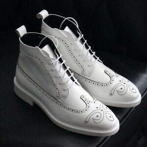 New Handmade Men's Ankle High White Leather Lace Up Brogue Boots