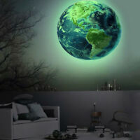AU_ KE_ CG_ Glow In The Dark Planet Earth Wall Art Sticker Decal Kids Bedroom De