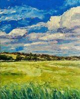 ORIGINAL Landscape Painting - Sky Fields Countryside British Art Presale