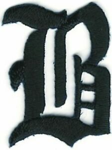"""1 1/8"""" Fancy Black Old English Alphabet Letter B Embroidered Patch"""