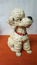 "Vintage Poodle Schnauzer Schnoodle Puppy Dog Statue - Plaster / Chalkware - 13"""