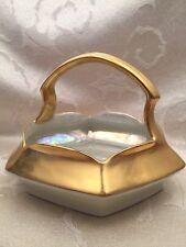 Vintage T&V Limoges Basket Dish Gold Iridescent Made In France