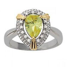 NEW LADIES 14k TWO-TONE GOLD DIAMOND & PEAR CUT PERIDOT HALO COCKTAIL RING