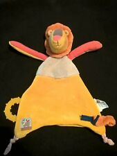 Peluche doudou plat lion jaune orange beige MOULIN ROTY LES PAPOUM dentition