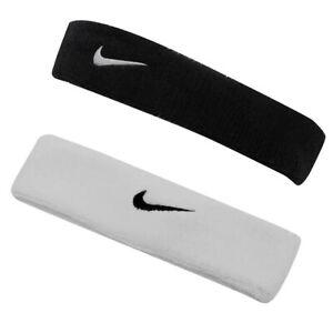 Nike Swoosh Stirnband Schweißband Kopfband Tennis Fitness Joggen Weiß Schwarz