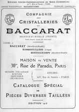 Baccarat Catalogue de la cristallerie 1916 Pièces diverses taillées en PDF