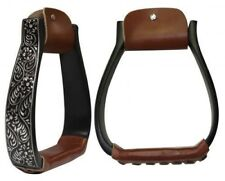 Showman BLACK Aluminum Stirrups w/ Silver Engraving & CLEAR Rhinestones NEW TACK
