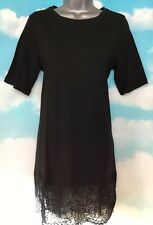 NEW NOISY MAY M black Short Sleeve Jersey Tunic Short Mini Party Dress Lace Hem