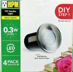 4 x Round LED Deck & Step Lights Add-On DIY Stainless Steel White HPM