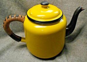 enamel teapot yellow retro/vintage/camping
