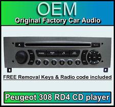 Peugeot 308 Voiture Stéréo Lecteur CD Peugeot RD4 Radio + Free vin code touches et