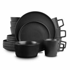 STONE LAIN 16-Piece Modern Black Matte Stoneware Dinnerware Set (Set for 4)