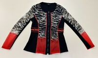 Picadilly Womens Black Red Coral Brown Zip Up Fashion Jacket sz SP