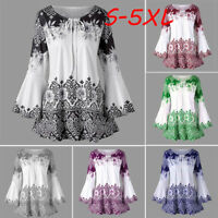 Autumn Womens Plus Size Printed Flare Sleeve Tops Blouses Keyhole T-Shirts S-5XL
