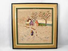 VINTAGE CANADIAN ANNE MARIE MATTE DESROSIERS NEEDLE POINT PAINTING WINTER SCENE