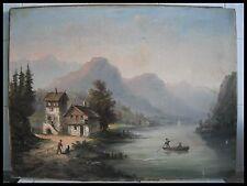 ECOLE SUISSE du XIXème HUILE sur TOILE : PAYSAGE ANIME, MONTAGNE, LAC, BARQUE ..