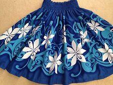 """NEW OCEAN BLUE TIARE HAWAIIAN PAU PA'U HULA DANCE SKIRT 28"""" LONG MADE IN HAWAII"""