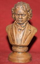 Vintage Hand Made Redware Pottery Beethoven Bust Figurine