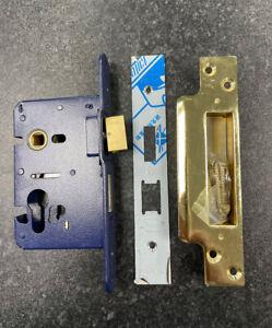 54-12 Gridlock Heavy duty euro mortice sash lock, 75mm backset, Brass