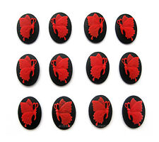12 unset RED BUTTERFLY on Black Left & Right Facing 6 pairs 18mm x 13mm CAMEOS