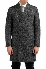 Dsquared2 Men's Double Breasted Linen Wool Coat US S IT 48