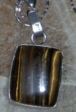 "tigers eye 925 silver plated square pendant 1.75"" hip to be squared! w/925 chain"