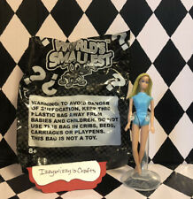 World's Smallest Mattel Barbie Doll with Stand Open New Swimsuit Small