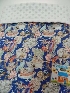 """May Gibbs Baby Blanket Navy 90cm x 77cm (36""""x 30"""") Bassinet Crib Minkee Back"""