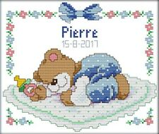 Sleeping Baby Bear Blue Boy. 14CT counted cross stitch kit. Craft brand new.