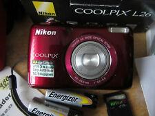 Nikon COOLPIX L26 16.1MP Digital Camera - Red VERY GOOD CONDITION