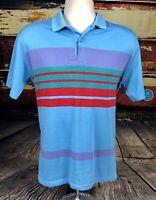 Vtg 80s 90s Striped Soft Polo Shirt Mens Sz M Colorblock golf tennis USA Made