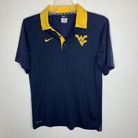 Nike Womens XL Blue/Yellow WV West Virginia Short Sleeve Polo Shirt