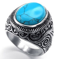 UK_ MEN'S CLASSIC VINTAGE BIG TURQUOISE STAINLESS STEEL CARVED BAND RING FADDISH
