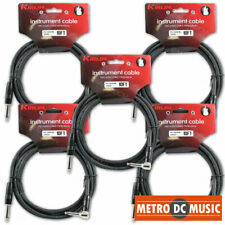 5-Pack Kirlin 10ft Right-Angle Guitar Bass Instrument Cord Cable Black 20AWG 1/4