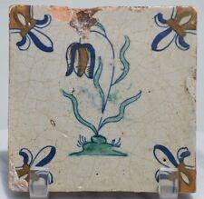 ANTIQUE DELFT BLUE WHITE 17th CENTURY DUTCH HOLLAND TILE FLORAL TULIP POLYCHROME