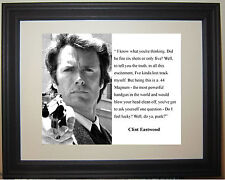 """Clint Eastwood Dirty Harry """" feel lucky"""" Famous Quote Framed Photo Picture"""