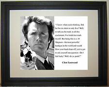 "Clint Eastwood Dirty Harry "" feel lucky"" Famous Quote Framed Photo Picture"