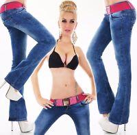femmes hanche pantalon jeans pattes d'éléphant bootcut à d'éléphants denim rose