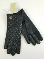 $98 Micheal Kors Black Leather Quilted Tech Gloves MK Gold Charm Logo Size L