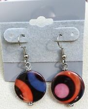 Dangle Earrings Handmade in Usa New Multi Color Shell Disk Drop