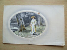 WW1 Periods Postcard-Printed in Germany-A LOVELY LADY COLLECTING FLOWERS-FOREST