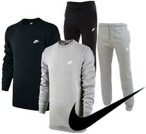 Mens Nike Tracksuit Set Joggers & Jumper Bottoms Sweatshirt Gym Top Black/Grey