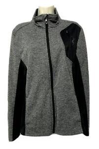 Spyder Mens Medium Full Zip Fleece Sweater Athletic Jacket Gray Black Running